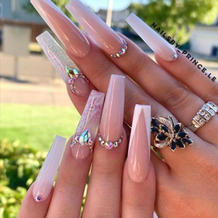 Elegant Luxe Pink Coffin Nails