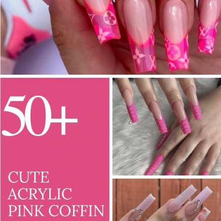 acrylic pink coffin nails design ideas to try 2021!