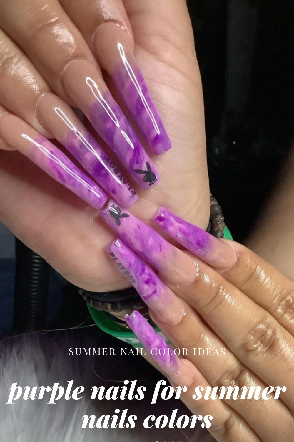 Purple nails for summer nail colors become a hit in the summer holiday.